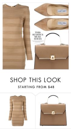 """""""Beige Motion"""" by lucky-1990 ❤ liked on Polyvore featuring Balmain, Jimmy Choo and H&M"""