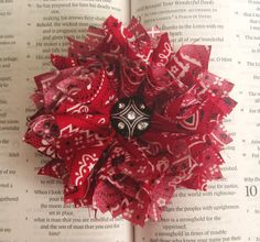 Red Bandana Flower Hair Clip or Brooch Pin- Shabby Chic. $14.00, via Etsy.