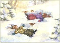 """Holly Pond Hill Christmas Treasury"" by Paul Kortepeter, Susan Wheeler -- rabbits making snow angels Susan Wheeler, Bunny Art, Cute Bunny, Illustrations, Children's Book Illustration, Bunny Painting, Snow Angels, Beatrix Potter, Whimsical Art"