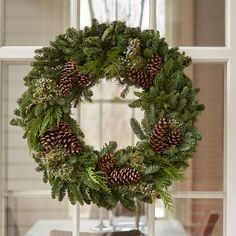 We know a classic when we see one. This lovely wreath evokes old-fashioned holidays. Christmas Greenery, Christmas Swags, Christmas Mood, Holiday Wreaths, Rustic Christmas, Christmas Crafts, Christmas Decorations, Holiday Decor, Real Christmas Wreath