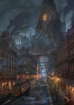 Dieselpunk or steampunk fantasy city Steampunk City, Ville Steampunk, Steampunk Kunst, Steampunk Artwork, Steampunk Wallpaper, Victorian Steampunk, Fantasy Artwork, Fantasy Concept Art, Fantasy Art Landscapes