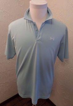 Under Armour Men's Small UA LOGO Teal Blue Polo Golf Shirt Sz Medium EUC #UnderArmour #PoloGolfShirt