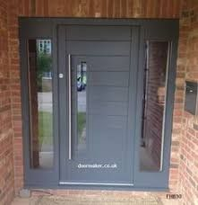 Like this repaired enclosed porch design Grey Front Doors, Best Front Doors, Front Door Porch, Porch Doors, Front Porch Design, House Front Door, Painted Front Doors, House With Porch, Grey Composite Front Door