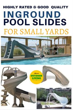 Inground pool slides for small yards from the best slide maker. Inground pool slides for small yards from the best slide maker. Backyard Pool Landscaping, Small Backyard Pools, Swimming Pools Backyard, Outdoor Pool, Backyard Ideas, Backyard Retreat, Landscaping Tips, Swimming Pool Slides, Swimming Pool Designs