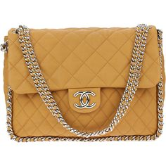 Pre-owned Chanel Washed Lambskin Chain Around Maxi Flap Bag ($3,100) ❤ liked on Polyvore featuring bags, handbags, chanel, chain strap handbag, strap purse, flap handbags and chanel handbags
