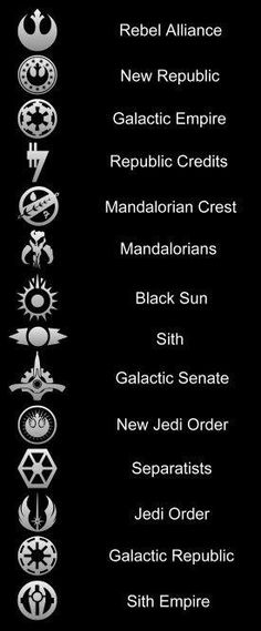 Star Wars Symbols - Jedi Order, Sith Empire, Rebel Alliance etc. Star Wars Film, Simbolos Star Wars, Amour Star Wars, Nave Star Wars, Star Wars Party, Star Wars Fan Art, Star Wars Icons, Star Wars Ships, Funny Star Wars