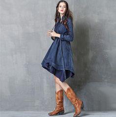 Rochia de blugi este un must-have. Kalimeramark.ro este o stare de bine. Fii deosebita, indrazneste! #rochii #rochiidenim Fii, Jeans, High Neck Dress, Denim, Dresses, Fashion, Everything, Turtleneck Dress, Vestidos