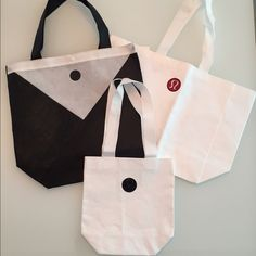Lululemon RARE Reusable Tote Bags Lululemon RARE Reusable Tote Bags. 2 large 1 small special edition reusable tote bags. I am selling this listing as a set of 3 only. No trades. Bundle to save! Thank you! lululemon athletica Bags Totes