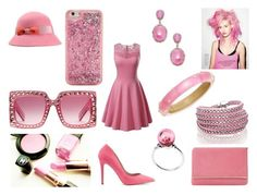 """monochromatic pink lady"" by tammysomerhalder ❤ liked on Polyvore featuring Miss Selfridge, Dune, Bavna, Trollbeads, Alexis Bittar, Sif Jakobs Jewellery, ban.do and Gucci"