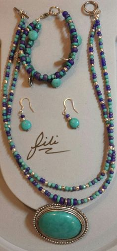 Turquoise,purple & silver
