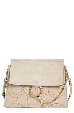 Chloé 'Medium Faye' Studded Calfskin Shoulder Bag available at #Nordstrom