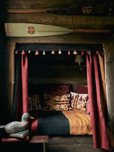 A Gardener's Bothy in Gunton Park (Desire To Inspire) Reading Nook Tent, Bed Nook, English Cottage Interiors, Cosy Bed, Bothy, Rustic Bedding, Dark Interiors, Small Space Living, Elegant Homes