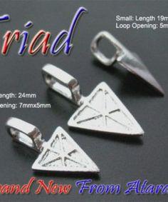 2 pieces Sterling silver 925 open loop slide bail pendant w12
