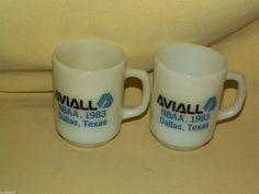 AVIALL MUG SET 2 WHITE MILK GLASS NBAA 1983 DALLAS TX ANCHOR HOCKING USA BOEING
