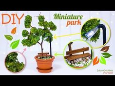 DIY Miniature Park In A Flower Pot – How To Make Miniature Tree, Street Light, Bench - YouTube