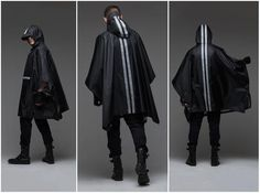 Futuristic Wool Jacket / Black Jacket with Raw Hem/ Extravagant Mens Clothing/ Deconstructed Black Jacket Steampunk Jacket, Steampunk Cosplay, Dashiki Fabric, Dashiki For Men, Rain Slicker, Rain Poncho, Hooded Raincoat, Urban Fashion, Male Fashion