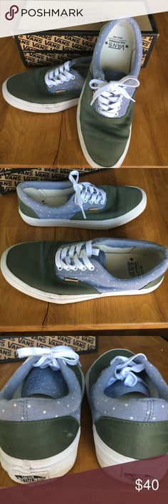 Vans Era CA polka dot Vans Era polka dot chambray an thyme. Gently used, soles do have some wear marks on them. Good condition! Comes with original box Vans Shoes Sneakers