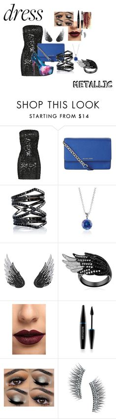 """""""the black dress"""" by love-the-game ❤ liked on Polyvore featuring Faith Connexion, MICHAEL Michael Kors, Liliana, Eva Fehren, Blue Nile, AS29, LASplash, MAKE UP FOR EVER, Kre-at Beauty and metallicdress"""