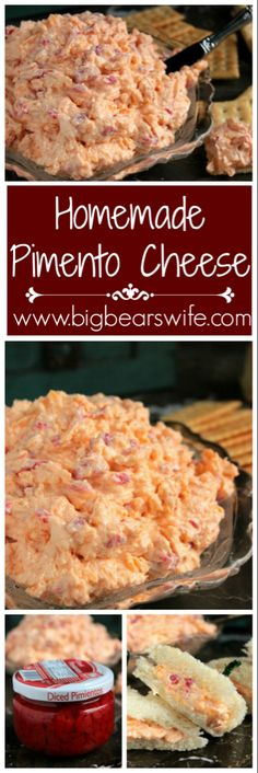 homemade Pimento cheese **Delicious and so quick to make. I put the pimentos in the Magic Bullet to make for a smoother version. Also did half the pimentos for a kid friendly version. Homemade Pimento Cheese, Pimento Cheese Recipes, Pimento Cheese Spreads, Cheese Snacks, Cheese Ball Recipes, Cheese Dishes, Food Dishes, Dip Recipes, Gastronomia