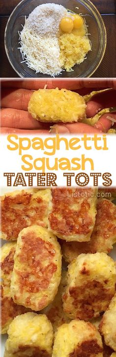 Easy Baked Spaghetti Squash Tater Tots -- These are so good, and only 4 ingredients! A nice healthy snack idea. Even kids love them.