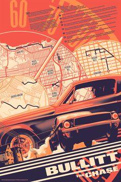 WHOA! Check out this Bullitt print by Matt Taylor, 24″ x 36″ Screenprint