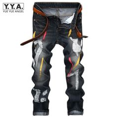 >> Click to Buy << High Quality Mens Jeans Ripped Colorful Printed Demin Pants Slim Fit Straight Casual Classic Hip Hop Trousers Ripped Streetwear #Affiliate