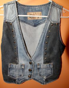 Studded denim punk vest hand painted size small by KrazzyCloset, $30.00