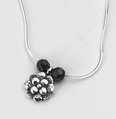 Shablool Israel Sterling Silver 925 4mm Onyx Black Pendant Necklace