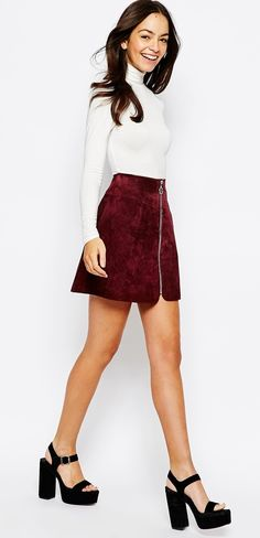 Asos suede burgundy red a-line skirt