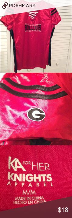 "GEORGIA  BULLDOGS SHIRT🏈 Silky GEORGIA BULLDOGS shirt with rhinestones. ""G"" on both sleeves. Only worn once! KA for HER Tops"