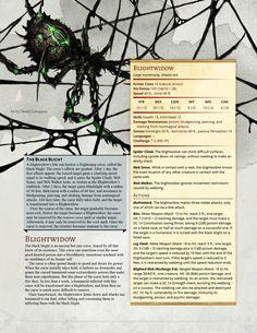Blightwidow - a monstrous arachnid that carries a transformative curse : UnearthedArcana Dnd Dragons, Dungeons And Dragons Dice, Dungeons And Dragons Homebrew, Dnd Classes, Dungeon Master's Guide, Darkest Dungeon, Dnd Monsters, Creature Concept, Tabletop Rpg