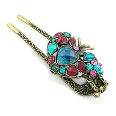 Vintage Style Rhinestone Multi-colored Heart by OrnamentOasis