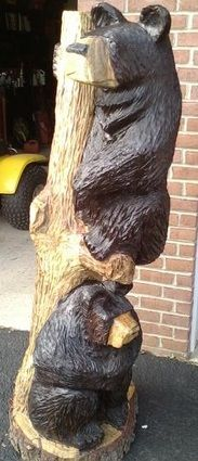 Chainsaw Wood Carving of 'Bears Just Hanging Out'