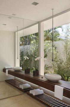 Minimalistic bathroom | bathroom with a view | wood console
