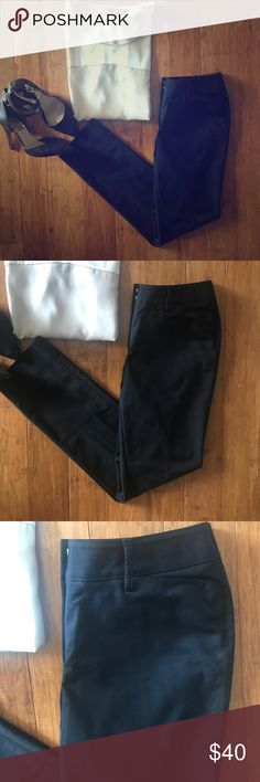 White House Black Market Perfect Form Slim Pants White House Black Market Perfect Form Slim Leg Pants - Size 4R. Black; Ultra comfortable, perfect form fabric; slim leg through ankle; Zip Fly with hidden double hook closure and inside button; belt loops. Only worn once or twice! 56% cotton; 41% nylon; 3% spandex. Pair with heels for the workweek & switch to wedges on the weekend! White House Black Market Pants