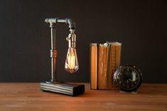 Edison lamp/Rustic decor/Unique Table lamp/Industrial lighting/Steampunk light/housewarming/gift for men/bedside pipe lamp/desk accessories Unique Table Lamps, Rustic Lamps, Rustic Decor, Bedside Lamp, Desk Lamp, Table Desk, Lampe Steampunk, Lampe Edison, Lampe Tube