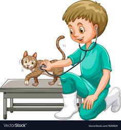Vet examining little cat vector image on Community Workers, Community Helpers, Drawing For Kids, Art For Kids, Funny Kids, Cute Kids, Picture Comprehension, Clown Crafts, Flashcards For Kids