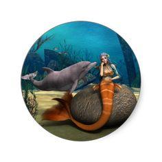 Sad #Mermaid Round #Sticker