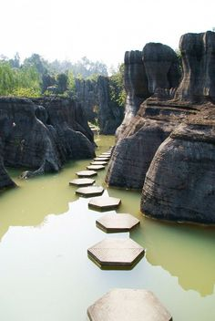 Over 600 hundred million years old, this is the fairy tale entrance to Wansheng Stone Forest in Yunnan Province, China