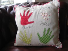 Personalised handprint cushion - family cushion - heirloom