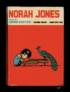 Norah Jones, Peanuts parody concert poster.
