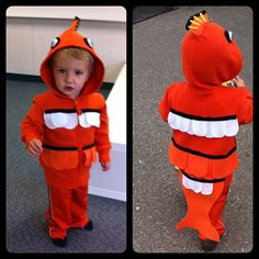 Little Nemo homemade hoodie fish costume. Felt and sweats, can't go wrong.