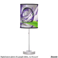 Digital micro photo of a purple white rose table lamp