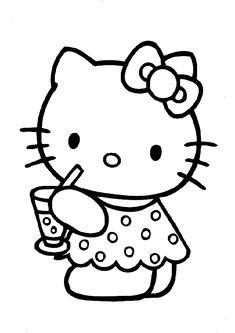 ausmalbilder hello kitty simple drawingskid