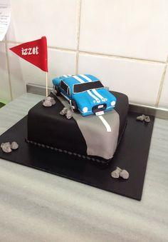 Muskat Patisserie #cake #car #ford #blue #sugarpaste #flag #birthday #sugar #sugarcraft