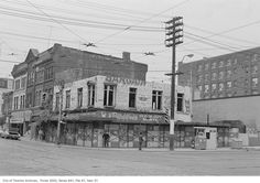 I was browsing old images of our city to compare street corners and corner stores from the past to what they looks like now. Old Images, Vintage Photographs, Toronto, Nostalgia, The Past, Corner, Street View, City, Building