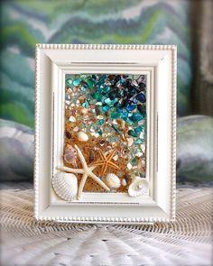 Coastal Wall Hanging, Beach Glass Wall Art, Seashell Art for Beach Decor, Nautical Decor for Bathroom, Bathroom Decor, Shell Art for Home
