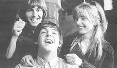 George Harrison with Paul McCartney and Jane Asher (photo by Robert Freeman)