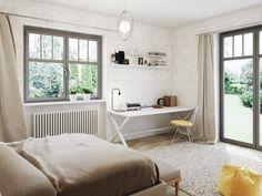 Stylizowane białe biurko płynnie wpisuje się w przestrzeń sypialni