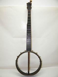 Vintage Old Banjo Antique Wood Musical Instrument Parts Restoration NO RESERVE